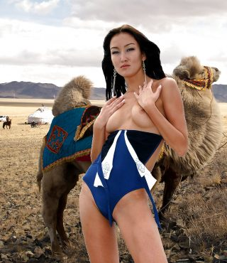 beautiful-kazakhstani-girl-posing-topless-swimwear-with-camel