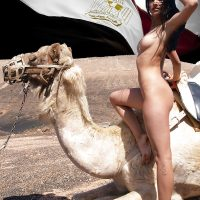 Beautiful Hot Naked Egyptian Girl on Camel