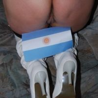 Naked Woman Ass with Argentina Flag